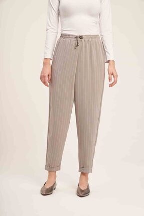 Mizalle Bağcıklı Çizgili Pantolon (Gri) 2