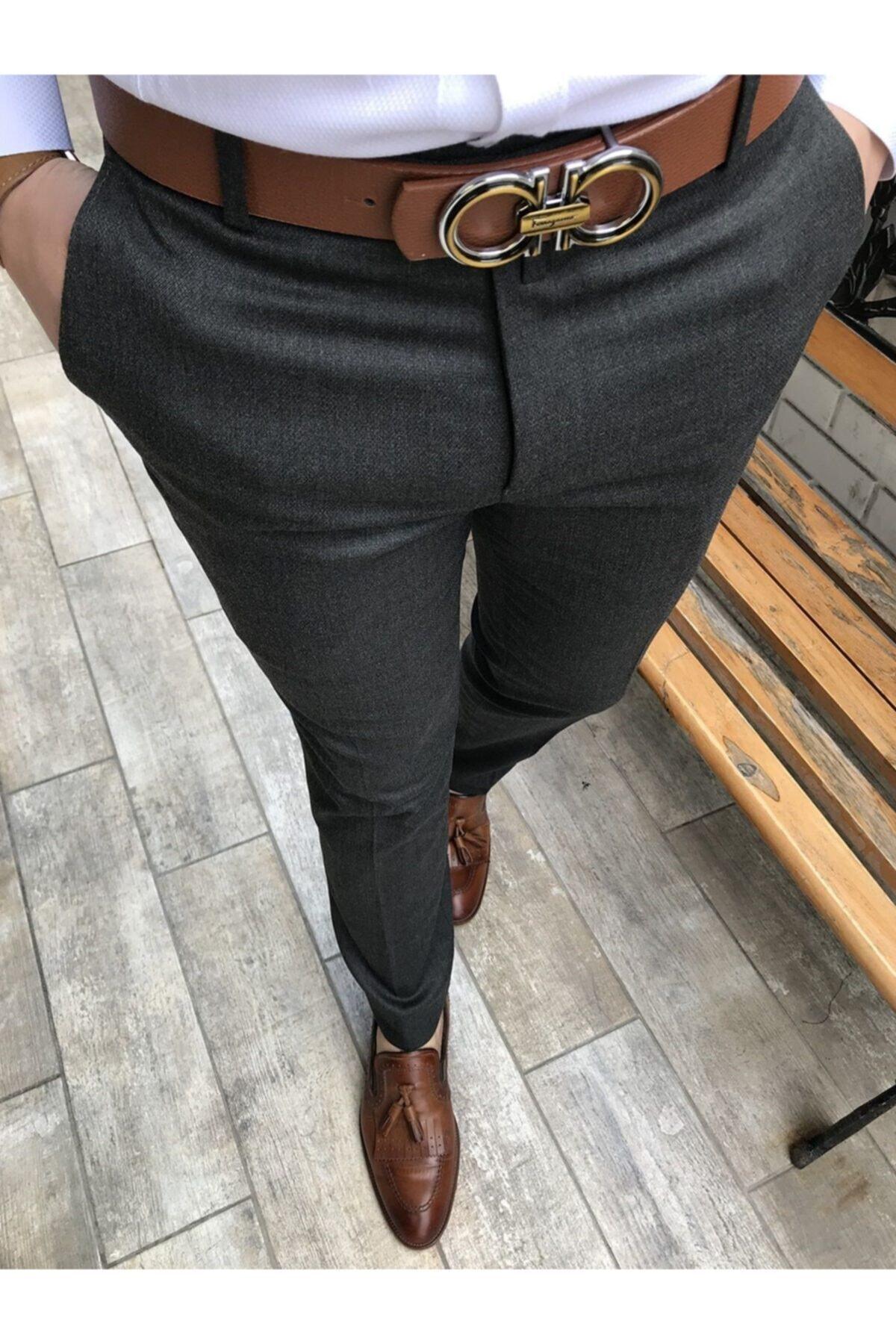 Italyan Kesim Slim Fit Antrasit Kumaş Pantolon T3485