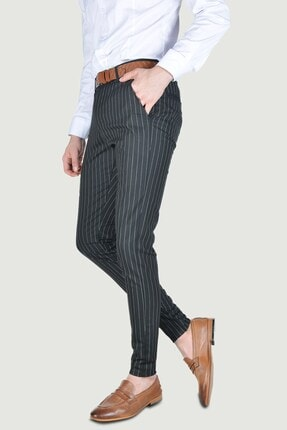 Terapi Men Erkek Çizgi Desenli Slim Fit Keten Pantolon 20y-2200269 Siyah 1