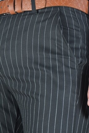 Terapi Men Erkek Çizgi Desenli Slim Fit Keten Pantolon 20y-2200269 Siyah 3