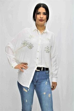 Swass Beyaz Renkte Taş Detaylı Gömlek 3