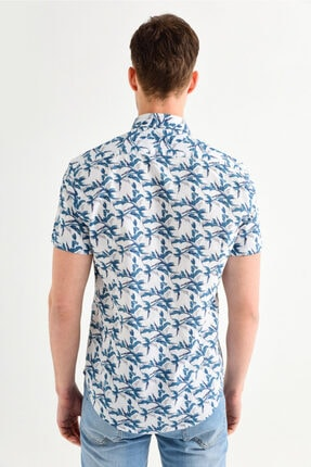 Avva Erkek Mavi Baskılı Alttan Britli Yaka Slim Fit Kısa Kol Gömlek A01y2083 2