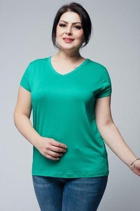 Ebsumu Kadın Büyük Beden V Yaka Basic Kısa Kollu Yeşil Tişört 0