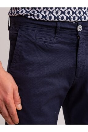 Dufy Lacivert Düz Pamuk Likra Karışımlı Erkek Short - Slım Fıt 1