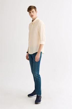 Avva Erkek Sarı Seersucker Düğmeli Yaka Slim Fit Gömlek A01s2225 3