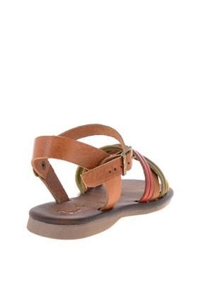 Bambi Hakiki Deri Sarı Yeşil Kadın Sandalet K05685161903 3