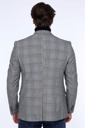 Zen Zen Zenzen Gri Kareli Erkek Blazer Ceket Slım Fıt 01231 4