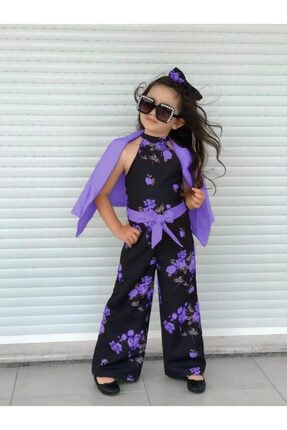Riccotarz Kız Çocuk Fashion Flowers Mor Ceketli Tulum 0
