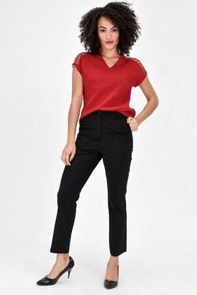Jument V Yaka Puanlı Tül Detaylı Rahat Kesim Kısakol Şık Ofis Bluz - Kırmızı 0