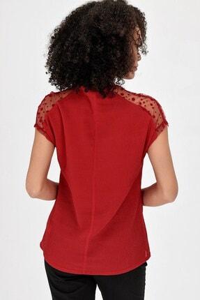Jument V Yaka Puanlı Tül Detaylı Rahat Kesim Kısakol Şık Ofis Bluz - Kırmızı 3