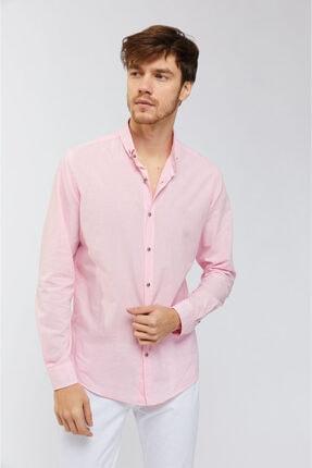 Avva Erkek Pembe Düz Düğmeli Yaka Slim Fit Uzun Kol Vual Gömlek A91s2206 1