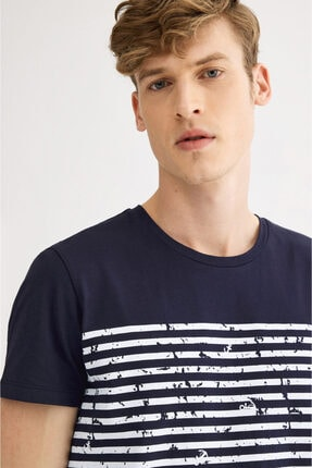 Avva Erkek Lacivert Bisiklet Yaka Çizgi Baskılı T-shirt A01s1261 1