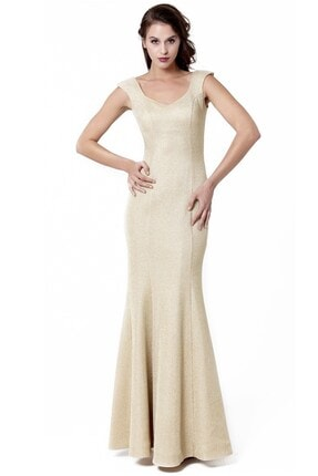 Abiye Sarayı Gold V Yaka Uzun Abiye Elbise 0