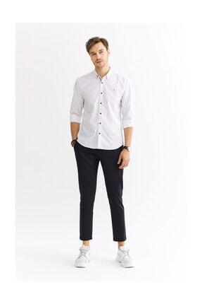 Avva Erkek Beyaz Baskılı Alttan Britli Yaka Slim Fit Gömlek A01s2235 3