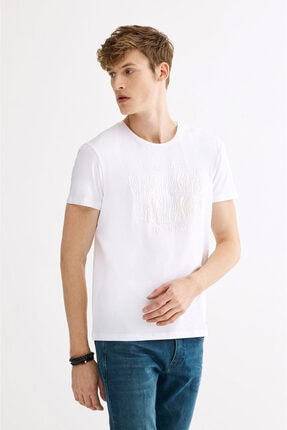 Avva Erkek Beyaz Bisiklet Yaka Baskılı T-shirt A01y1020 1