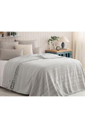 Madame Coco Alegron King Size Yıkamalı Yatak Örtüsü - Gri / Beyaz 0