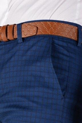 Terapi Men Erkek Ekoseli Slim Fit Keten Pantolon 20k-2200262 Lacivert 3