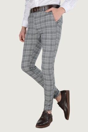 Terapi Men Erkek Ekoseli Slim Fit Keten Pantolon 20k-2200244 Füme 0