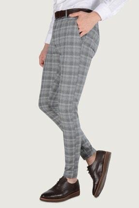 Terapi Men Erkek Ekoseli Slim Fit Keten Pantolon 20k-2200244 Füme 1