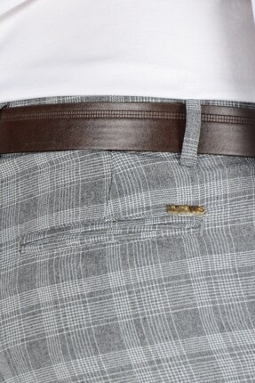 Terapi Men Erkek Ekoseli Slim Fit Keten Pantolon 20k-2200244 Füme 3