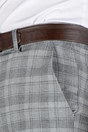 Terapi Men Erkek Ekoseli Slim Fit Keten Pantolon 20k-2200244 Füme 4