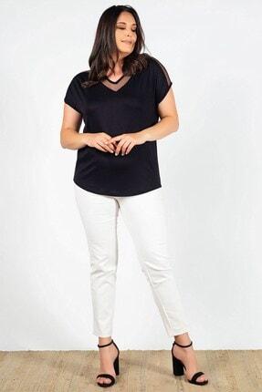 Womenice Büyük Beden Siyah Yakası Kolu Tüllü Bluz 0