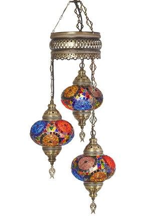Mozaik 3lü Avize Sarkıt Otantik Lamba Renkli Sarkıt Lamba demmexavize312