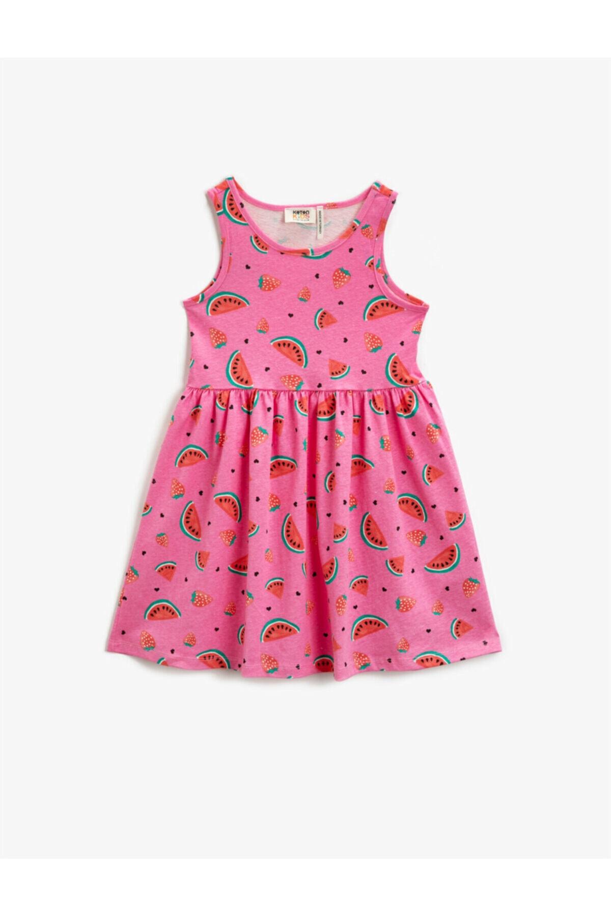 Kız Çocuk Pembe Baskılı Kolsuz Pamuklu Elbise