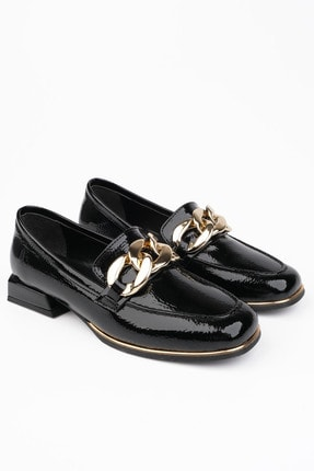 Marjin Kadın Siyah Rugan Loafer Ayakkabı Annar 4