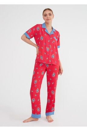 Suwen Kadın Kirmizi Baskili Vilma Maskulen Pijama Takımı 1