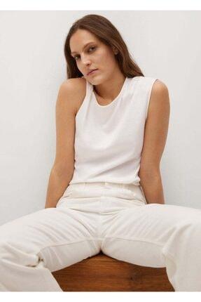 Mango Kadın Beyaz Kolsuz Bluz 3