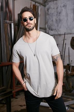 Sateen Men Erkek Taş Kısa Kol Long Kesim Basic T-Shirt 1