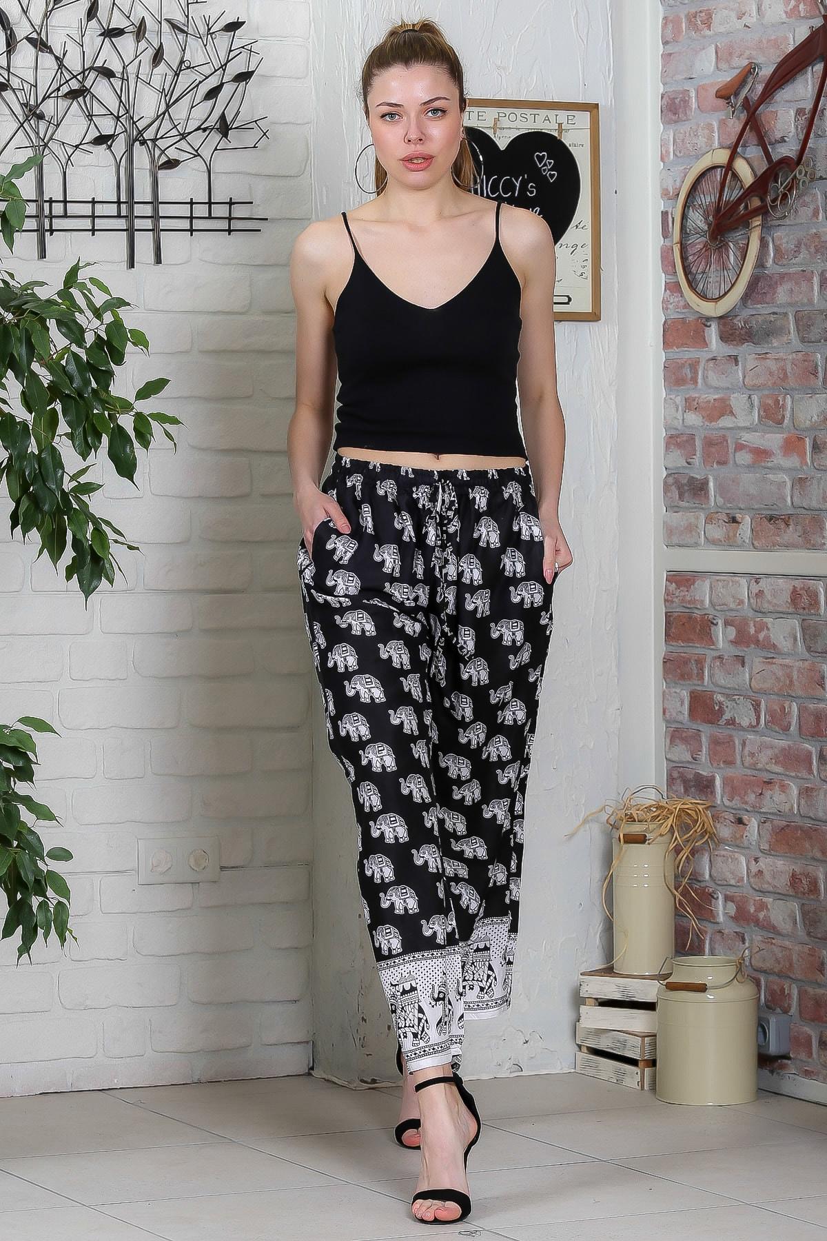 Chiccy Kadın Siyah Fil Desenli Cep Detaylı Dokuma Pantolon M10060000PN98900 2