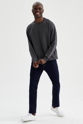 Defacto Erkek Gri Oversize Fit Bisiklet Yaka Basic Sweatshirt 1