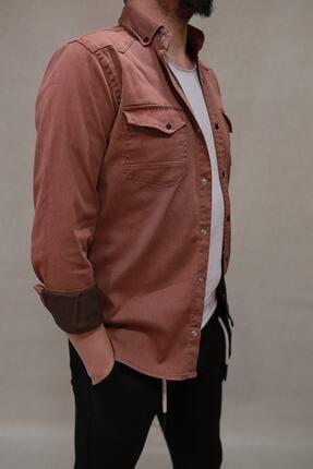 YXC erkek kiremit çift cepli çıtçıtlı kot gömlek   00059 2