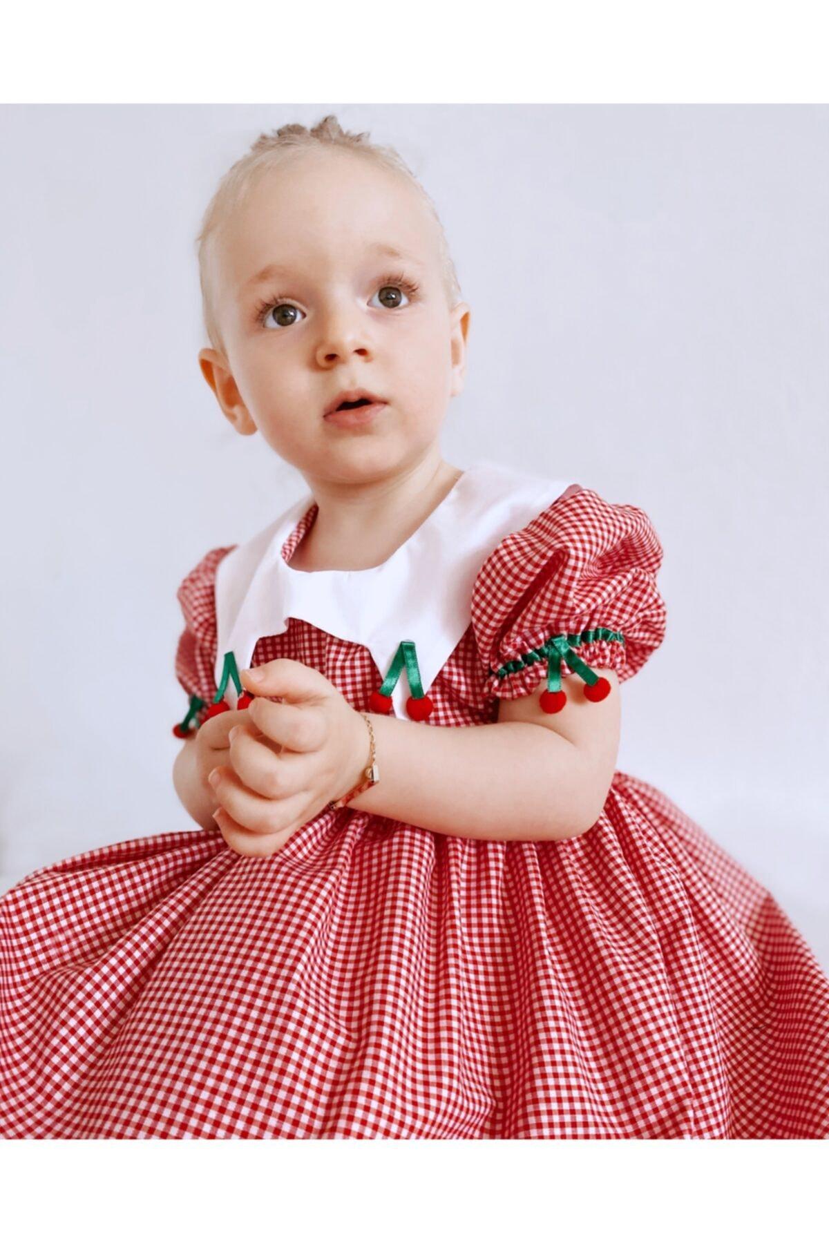 Çocuk Kırmızı Kirazlı Kısa Kollu Elbise