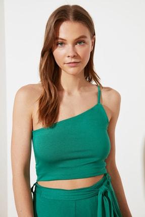Zümrüt Yeşili Tek Askılı Örme Bluz TWOSS21BZ1524