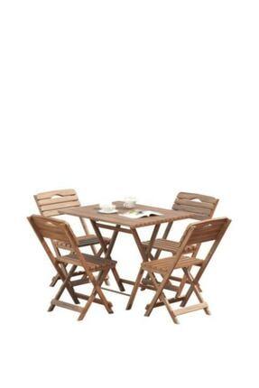 Meya Dekor Minder Hediye Balkon - Bahçe 5'li Katlanabilir Bistro Set 4 Sandalye 1 Bhçe 60x80 Cm Masa 2