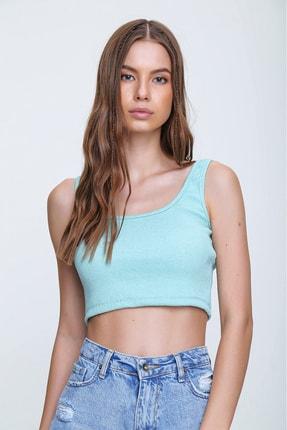 Trend Alaçatı Stili Kadın Mint Kare Yaka Fitilli Crop Bluz ALC-X6156 1