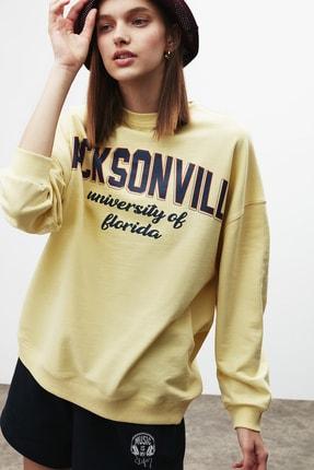 GRIMELANGE RAMONA Kadın Sarı Önü Baskılı Sweatshirt 0