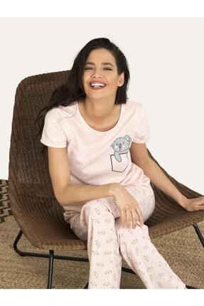 Nbb Kadın Pembe Koala Desenli Pijama Takım 67135 1