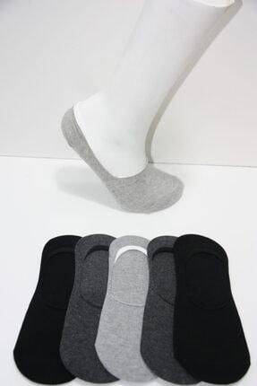 Prestige Erkek Koyu Gri Silikon Baskılı Babet Çorap 5'li 0
