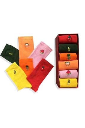 Socks Stations 6'lı Meyveler Nakışlı Renkli Çorap Kutusu 1