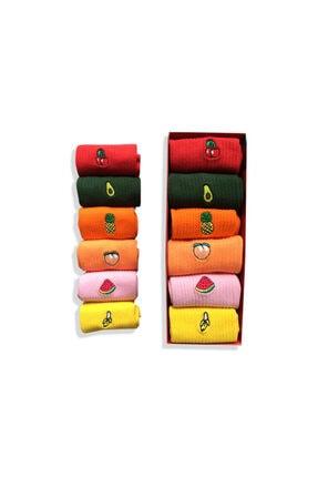 Socks Stations 6'lı Meyveler Nakışlı Renkli Çorap Kutusu 2