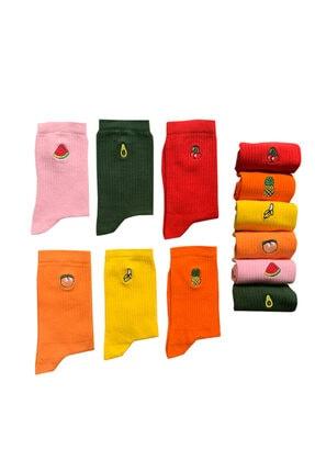 Socks Stations 6'lı Meyveler Nakışlı Renkli Çorap Kutusu 3