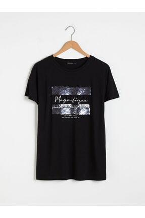 LC Waikiki Kadın Siyah Baskılı T-Shirt 0