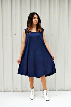 MGS LİFE Kadın Lacivert Kolsuz Düz Renk Çan Etek Elbise 0