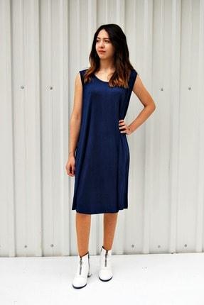 MGS LİFE Kadın Lacivert Kolsuz Düz Renk Çan Etek Elbise 1