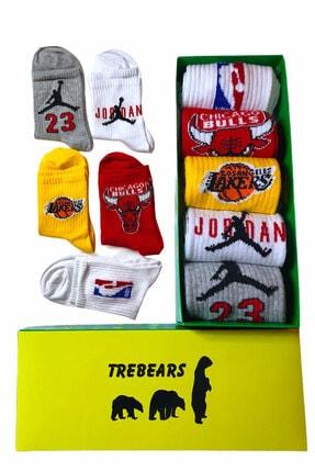 TreBears Çorap Renkli Desenli Basketbol Serisi 5 Li Set 1