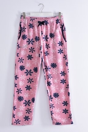 Pemilo Kadın Pudra Büyük Beden Cepli Welsoft Polar Tek Pijama Alt 245-03 0